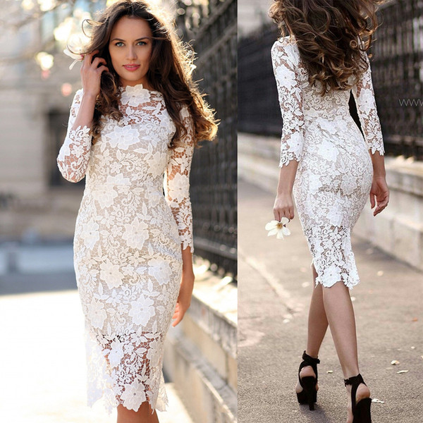 elegant white lace mother of bride dresses sheer neck 3/4 sleeves knee length short prom party gowns pencil zipper back cocktail
