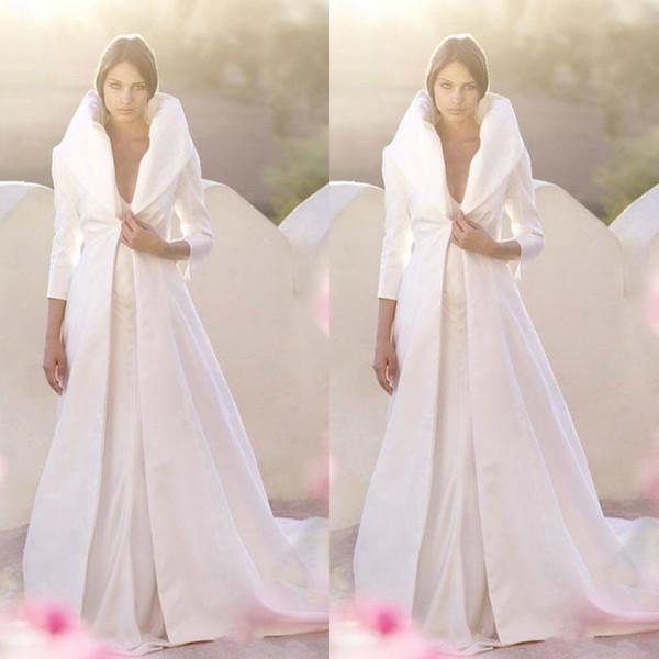 2019 automne hiver blanc veste de mariée en satin pleine longueur manteaux manches longues une ligne robe de mariée mariage sur mesure