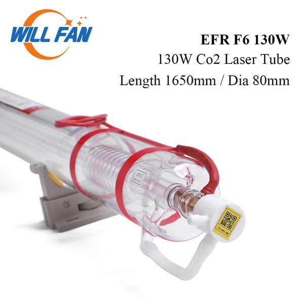 Будет Fan 130W EFR F6 Co2 лазерная трубка Длина 1650mm Диаметр 80 мм для ЧПУ лазерной гравировки Cutter Machiner