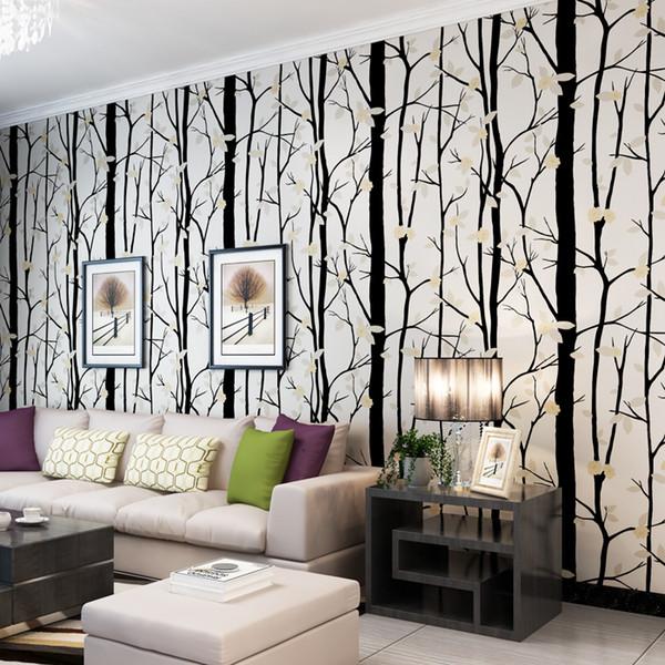 Acheter Nouveau Nordique Noir Blanc Arbre Fleur 3d Papier Peint Ror Salon Murs Murs 3 D Direction Rose Moderne Papier Peint Rouleau De 54 57 Du