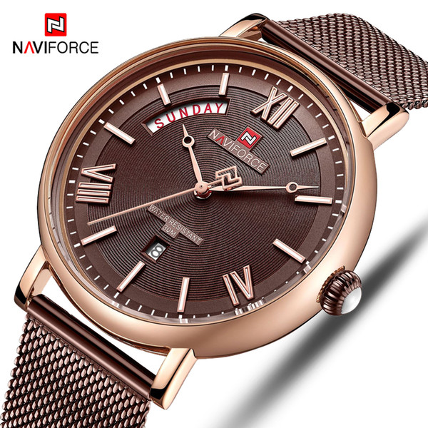 naviforce watch men fashion business watches men's casual waterproof quartz wristwatches stainless steel mesh relogio masculino, Slivery;brown