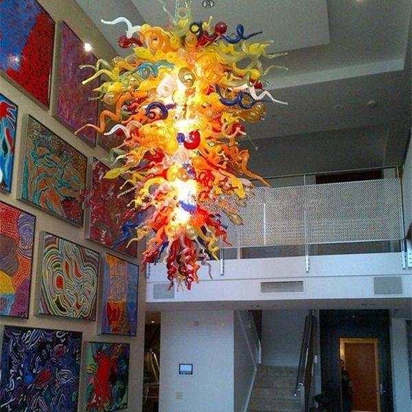top popular Glass Lighting Artistic Blown Glass Chandelier Lighting Multi LED Lights E14 Art Deco Pendant Lighting Lamp for house decoration living room 2021