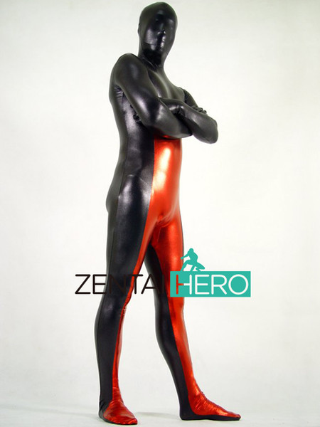 Envío libre de moda DHL New Adult Strong Black and Red Full Body Multicolor Shiny Metallic Zentai Suit Disfraz de Halloween PS025