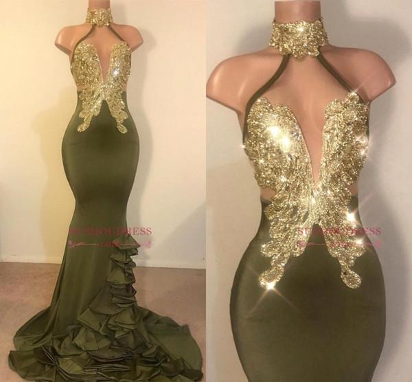 Vestidos de baile sexy de color verde oliva con cuello halter con lentejuelas doradas Apliques sin respaldo Vestidos largos de noche Vestidos Vestido de fiesta con estilo de fiesta BC0988