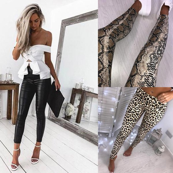 2019 2019 Black Leather Leggings Leopard Snake Print Leggings Pants Women High Waist Stretch Slim Fashion Black PU Leather Pencil Pants From