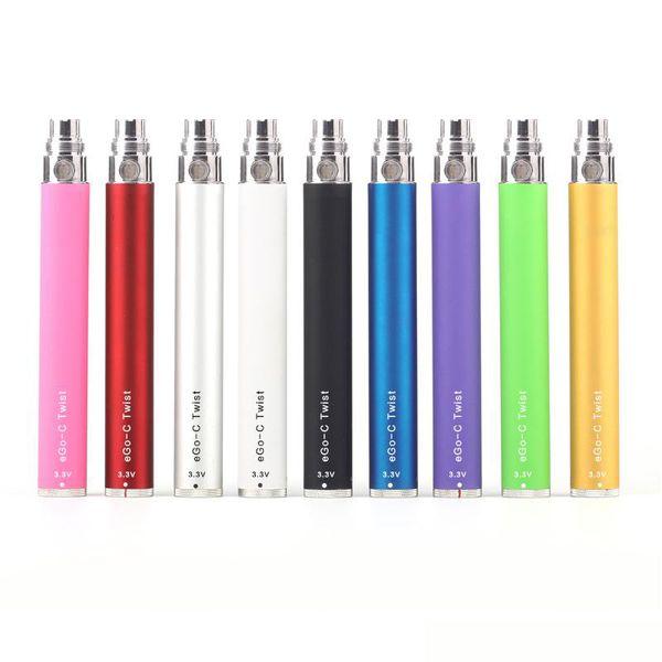 eGo-c Twist batterie cigarette électronique Kit tension variable Batterie 3.2-4.8V 650mAh 900mAh 1100mAh Kits EGO CE4 MT3 réservoir cigarette électronique