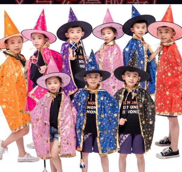 Halloween del Capo Mantello cappuccio + mantello 2pcs / set Interprete bambini Mago Mago stampa a caldo a cinque stelle del capo del mantello del cappello dei bambini stabiliti poncho