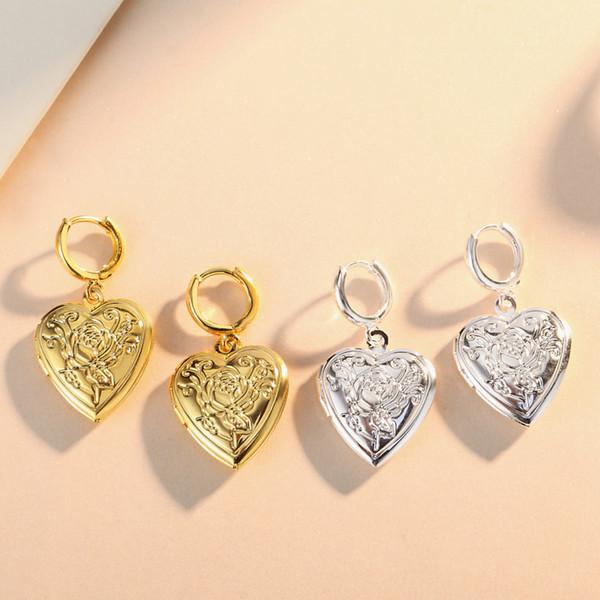 Floating Lockets heart-shaped flower Grain phase box earrings gold Silver earrings Fits European Style Jewelry copper Charms