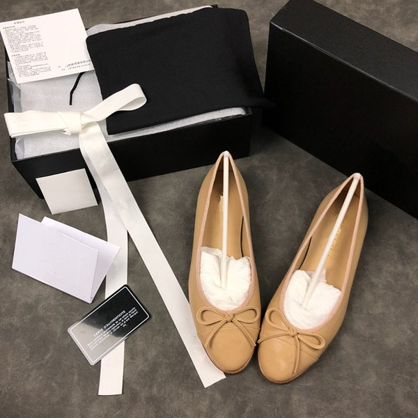 Classic style Beige Black Ballerina Flats Lambskin Women Loafers Six Colors Size 34-40 Lady Ballet Shoes Flats loafers With Bowt mx18121418