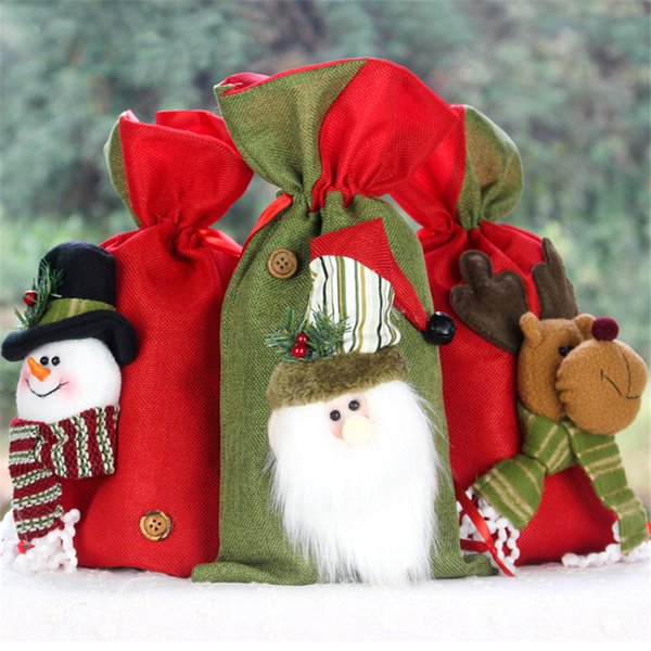Christmas Santa Sack Candy Cookie Gift Bags Santa Snowman Elk Stocking with Cord Drawstring Xmas Holiday Party Wedding Decoration JK1910