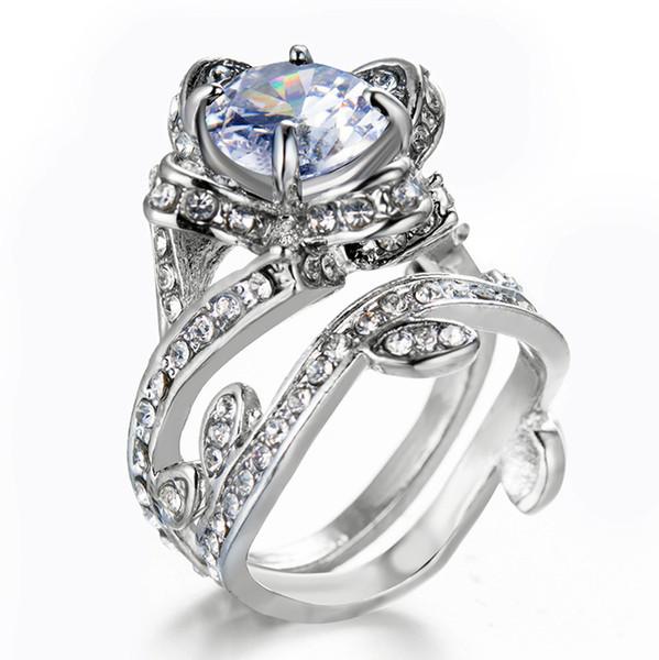 2019 magasins de bijoux bagues pour femmes promesse anneaux explosion dames bijoux Creative Rose bijoux de mode bague Zircon livraison gratuite