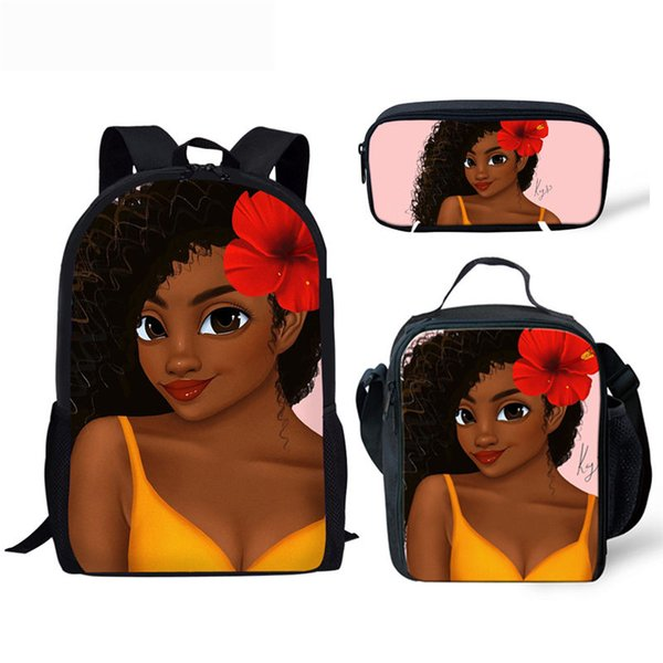 Hot Sale Black Queen African American Girl School Bag For Teenagers Girls School Backpack Kids Schoolbag Black Art Afro Lady Bag