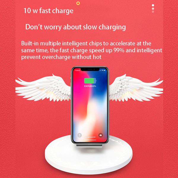 Base de carga inalámbrica 10W Angel Wings Cargador rápido para teléfono móvil universal Huawei iPhone Samsung con adorno de estantería de luz nocturna