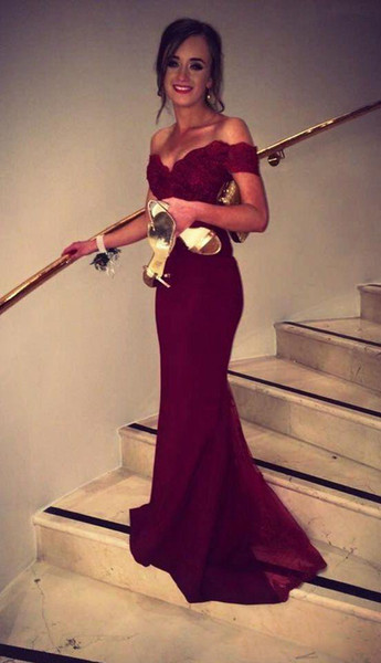 Fashion 2019 Sexy Burgundy Evening Dresses Mermaid Off the Shoulder Lace Satin Prom Dresses Long Evening Gowns Cheap Women Dress