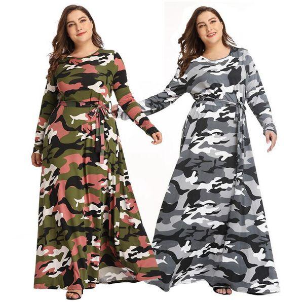 2019 Women Camouflage Maxi Dress Plus Size Long Sleeve Lace Up Camo A Line  Military Dress Autumn Maternity Dresses LJJO7213 From B2b_life, $12.97 | ...