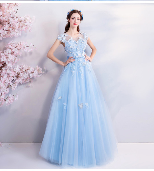 Blue Lace Tulle A-line 2019 Prom Dresses With Cap Sleeves Corset Back Floor Length Girls Formal Prom Party Evening Dress With Butterflies