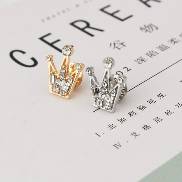 Voller Diamant Kristall Mini Unisex kleine Krone Brosche Hochzeit Partei Anzug Anzug Hemd Hemd Brosche Valentinstag Geschenk