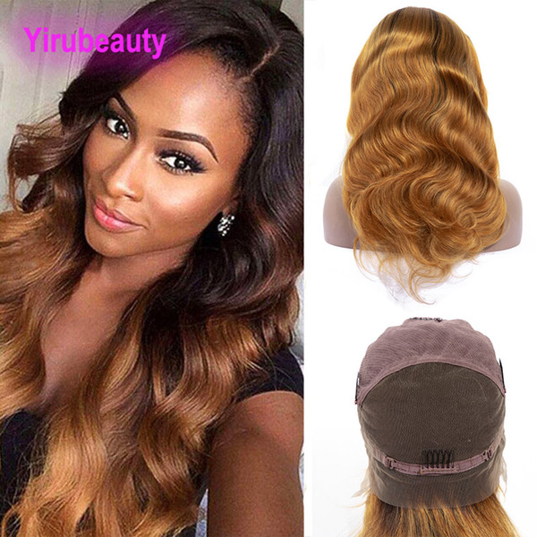 Peruvian Human Hair 1B 30 Ombre Hair Full Lace Wigs Two Tones 8-36inch 1B/30 Color Wholesale Full Lace Wigs