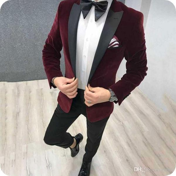 Latest Designs Burgundy Velvet Groom Tuxedos Men Suits Wedding Peaked Lapel Blue Smoking Jacket Wool Blend Pants 2Piece Black Man Blazer