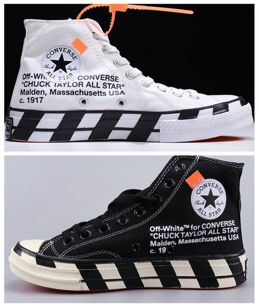 top popular New Arrival Stripe Off Chuck 70 All White Canvas Shoes Taylor 1970S Star Men Women Fashion Designer Sneakers Casual Skateboard Shoes 36-45 2020