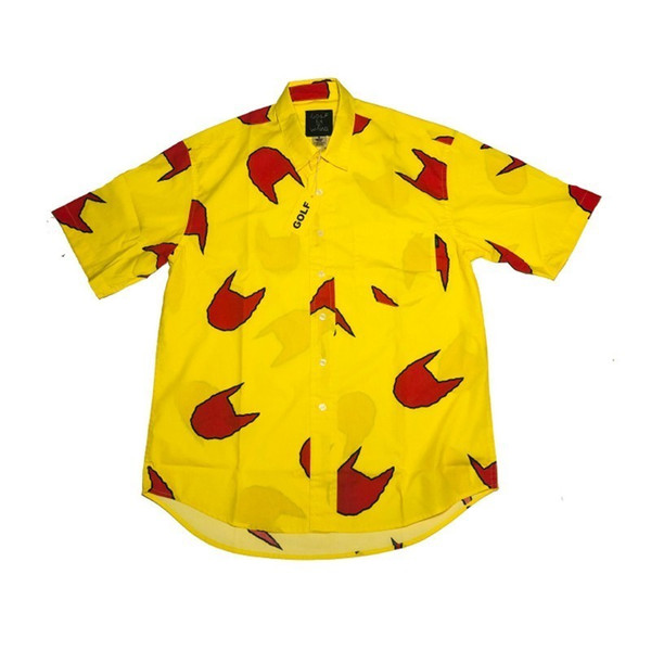 19SS GOLF WANG Cat Claw boy yellow shirt with short sleeves Men and Women Fashion Breathable HFLSCS024