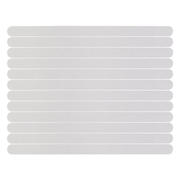 12pcs Kayma Önleyici Banyosu Tutma Çıkartma Kaymaz Duş Şeritler Döşeme Emniyet Bant Mat Pad 38x2cm (Beyaz)