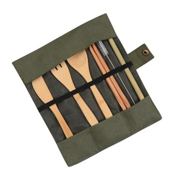 Juego de vajilla de madera Cucharadita de bambú Tenedor Cuchillo de sopa Juego de cubiertos con bolsa de tela Cocina Herramientas de cocina