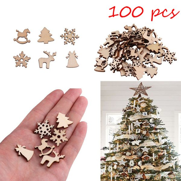 100Pcs Natural Wooden DIY Christmas Tree Hanging Ornaments Pendant Snowflake Deer New Year Decor Christmas Decorations For Home