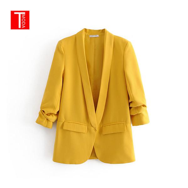 Jaune Col Châle Élégant Bureau Dames Vêtements De Travail Blazer À Manches Longues Regular Fit Minimaliste 2019 Femmes Automne Blazer 3 Couleurs