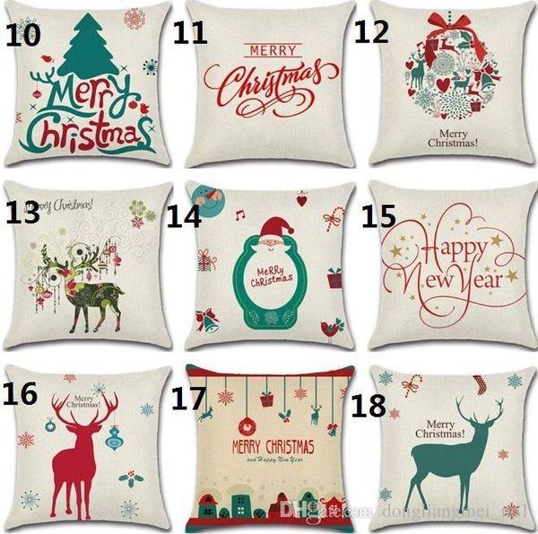 DLM2020 20style Leinen Frohe Weihnachten Geschenk Kissenbezug Weihnachten Platz Dekokissen Fall für Hauptdekoration Reindeer Dekorative Kissenbezug