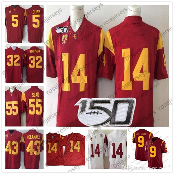 Vintage USC Trojans # 14 Sam 43 Troy Polamalu 32 OJ Simpson 55 Junior Seau 5 Reggie Bush 2019 NCAA 150. Red Jersey