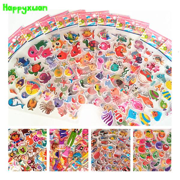 Happyxuan 70 feuilles 2018 Hot 3D Cartoon PVC Puffy Stickers enfants océan poisson bonbons jouet animal enfants fille professeur d'école RewardsMX190926