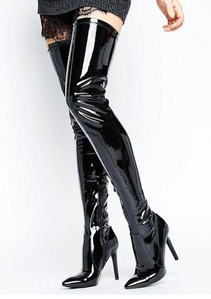 Couro de Patente Mulher Apontou Toe Shine Modelo Passarela Sexy Paint Boots Street Shooting Boate Sapatos de Dança de Salto Alto Zíper das Mulheres Apontou