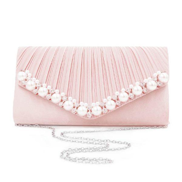 Pearl Bijou Party Bag Clutch Bag Womens, Pink