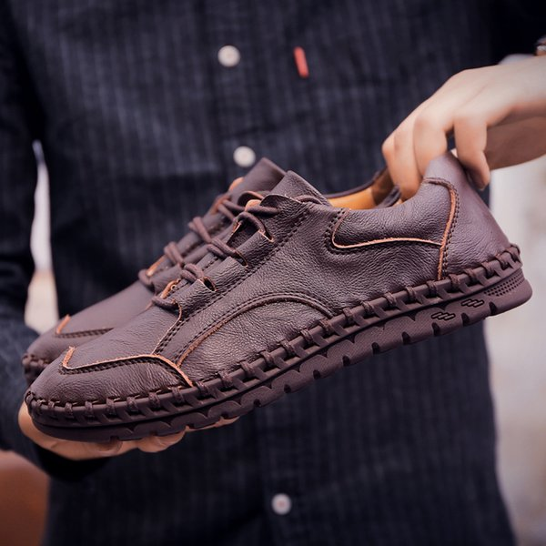 Men Casual Leather Shoes Genuine Leather Men Loafers Business Formal Shoes 2019 Brand Mens Fashion
