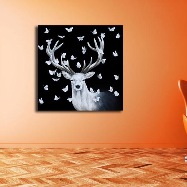 Weihnachten Hirsch Leinwand Malerei Wandbild Poster Und Print Dekorative Für Wohnzimmer Wohnkultur