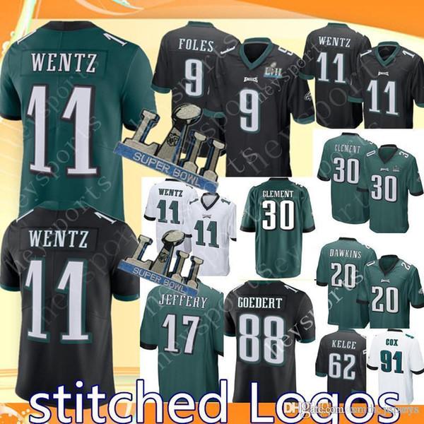 2dbab11bbeb Philadelphia Eagles 11 Carson Wentz Jersey Mens 20 Brian Dawkins 9 Nick  Foles 30 Corey Clement