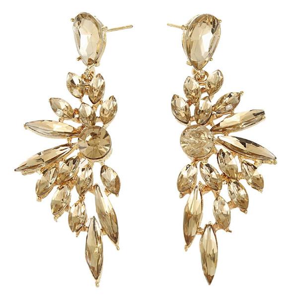 Angel Wings Rhinestone Stud Earrings Women Long Pendant Wedding Earrings