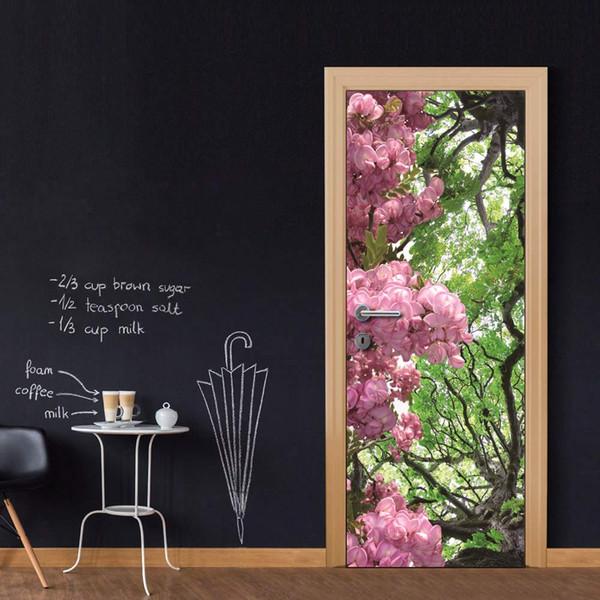 Free shipping DIY Door Sticker Spring Flowers door decals decorations for Bedroom Living Room wallpapers Decal home accessories