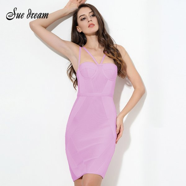 df5fd07d3ec09 2019 New Summer Women Party Bodycon Dress Sexy Pink Strap Knee Length  Celebrity Chic Bandage Dress Clubwear Wholesale Vestidos Q190511 From  Yiwang01, ...