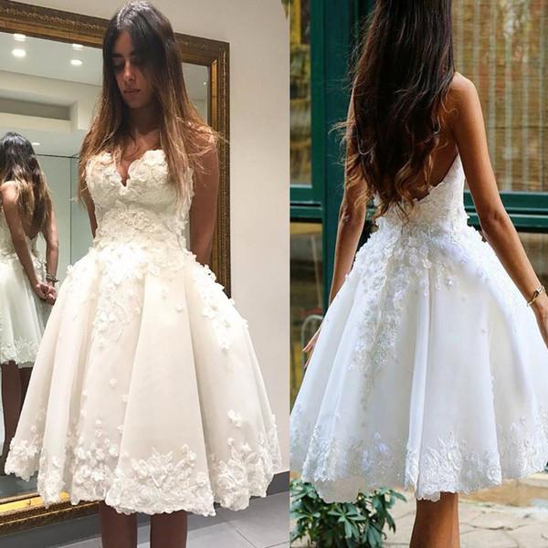 2020 vestido de baile querida Marfim Tulle Flores 3D Applique vestido Homecoming joelho comprimento Prom vestidos cortos de gala
