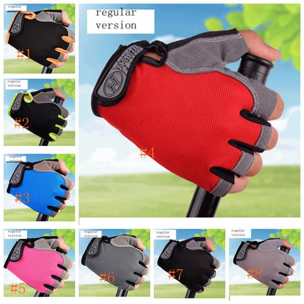 навес от солнца Велоспорт Половина Пальцев Перчатки Дышащий Handwear Велосипед Восхождение Фитнес Перчатки 8 цветов (обычная версия) LJJZ115