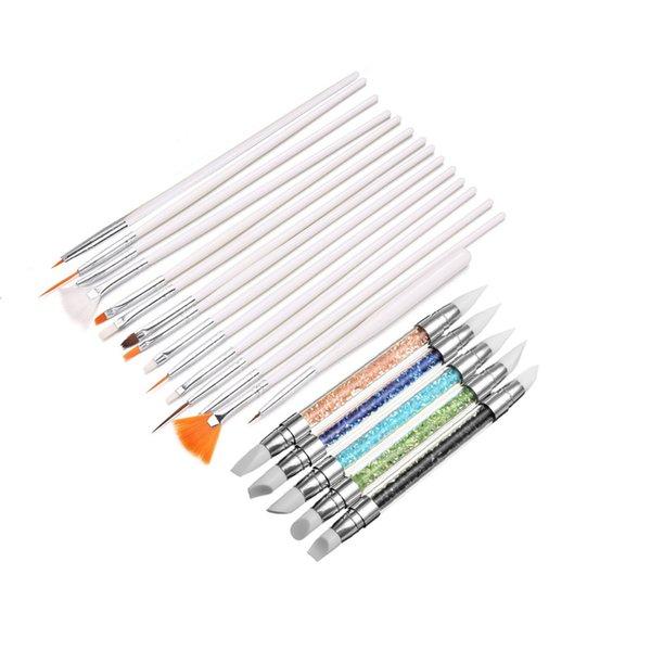 wholesale Nail Art Brushes Silicone Brush Design DIY Tool Painting Drawing Sculpture Crystal Pen Gel Polish Pro 20Set Manicure Tool