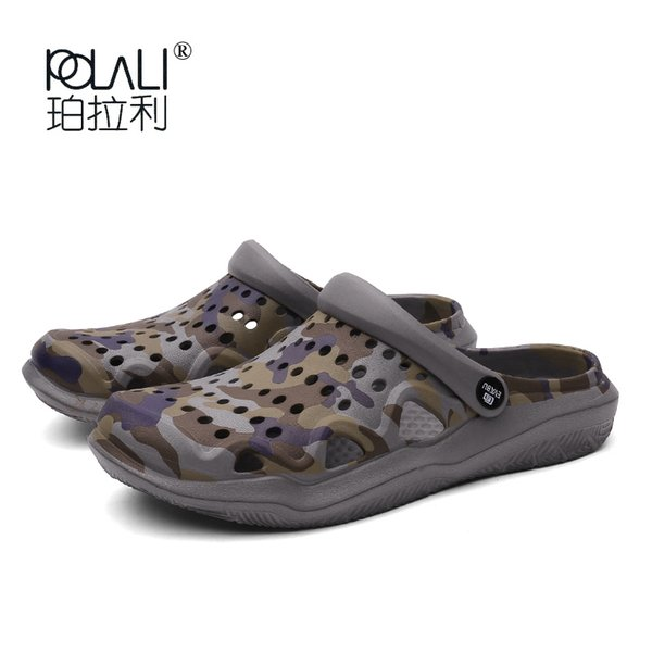 Summer Aqua Chaussures Slide Slide Sandales Hommes Pantoufles Plage Sand Pantoufles Hommes Camouflage Amoureux Diapositives Couples Plus Taille Chaussure 45