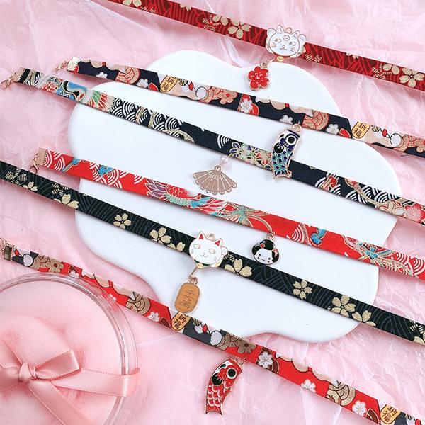Chat Ruban Kawaii Fleur Collier Style Japonais Poupée Douce Bande Dessinée Sakura Jolie Corde Cadeau Court Femmes Carpe Simple Romantique