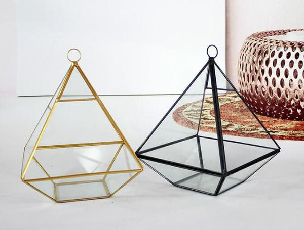wholesale New Miniature Glass Terrarium Geometric Diamond Desktop Garden Planter For Indoor Gardening Home Decor Vases