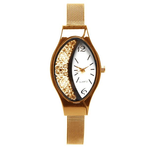 Moda Feminina Wristwathces 2019 Atacado Requintado Vestido de Alta Qualidade Strass Relógios Nova Marca Oval Relógios de Quartzo LW050