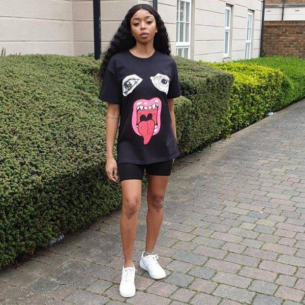 Kadın Yaz Büyük Dil 3D Baskı Tshirt Gevşek Rahat Tasarımcı Kadın Giyim Ekip Boyun Kısa Kollu Rahat Giyim