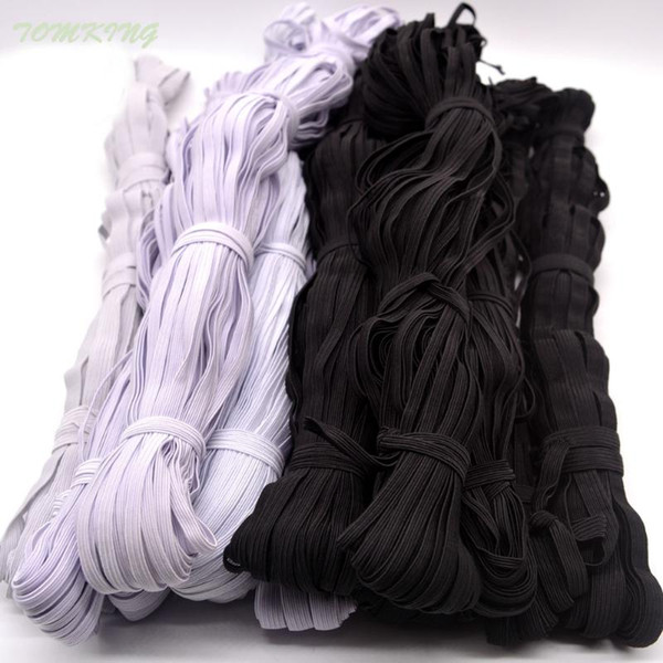 best selling 3mm 5mm 6mm 8mm 10mm 12mm Narrow sewing elastic webbing black white for cloth pants bag home tape bands sewing accessories