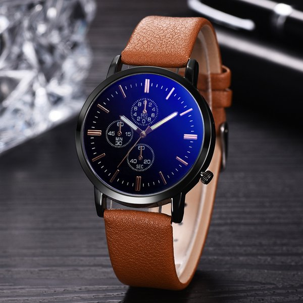 Fashion Brown Business Man Watch High Quality Leather Man Watch Round Quartz Cool Clock Relogio Masculino for droshipping